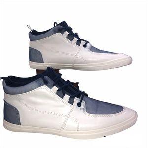 "ALDO 'Lelasa"" White/Blue Men's Hi-Top Sneakers-Size 9"
